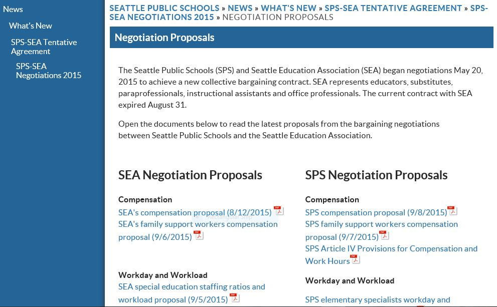 Bargaining Proposals Page